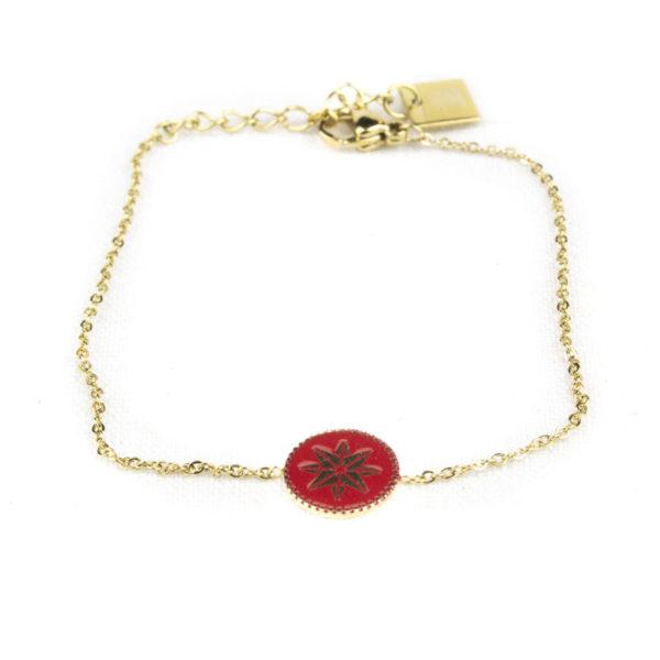 bracelet-zag-medaillon-rond-rouge